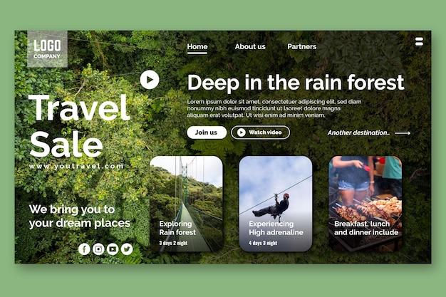 Page de destination de la vente de voyages