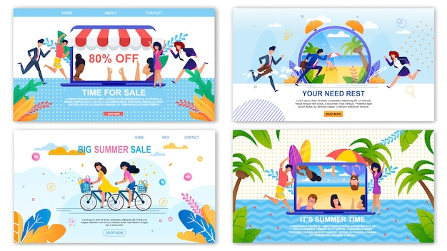 Page de destination des ventes et repos, ensemble de bannières de bienvenue et rappel du temps des vacances