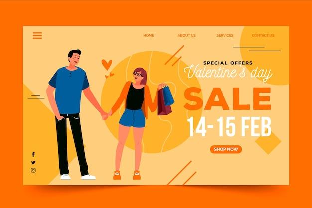 Page de destination avec les ventes de la saint-valentin
