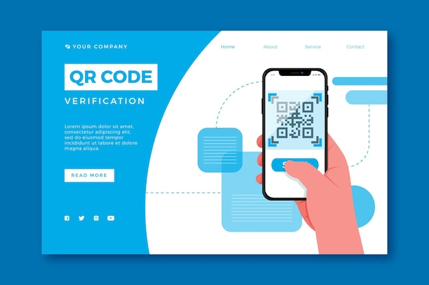 Page de destination de vérification du code qr