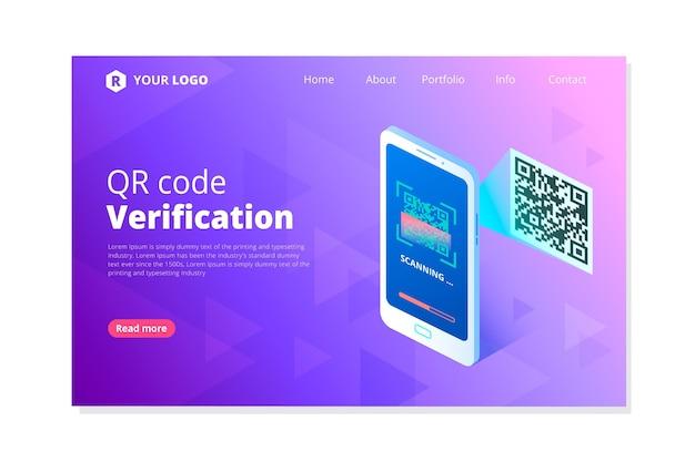 Page De Destination De Vérification Du Code Qr Vecteur Premium