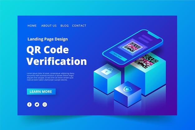 Page De Destination De Vérification Du Code Qr Vecteur gratuit