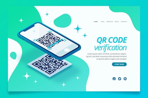 Page de destination de vérification du code qr