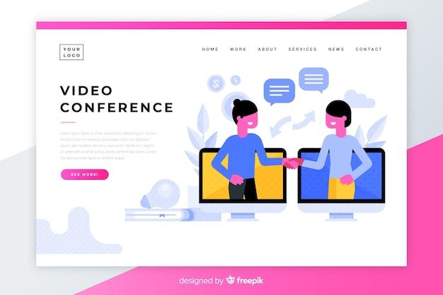 Page de destination de la vidéoconférence colorée