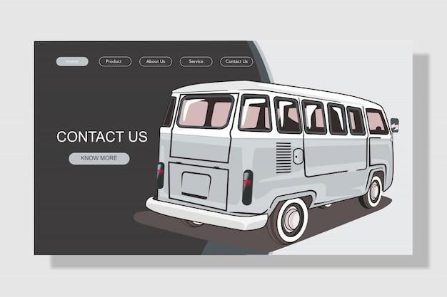 Page de destination de voiture de style plat moderne