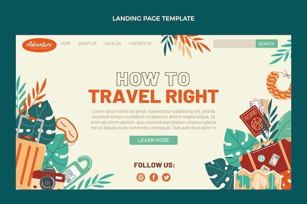Page de destination de voyage design plat