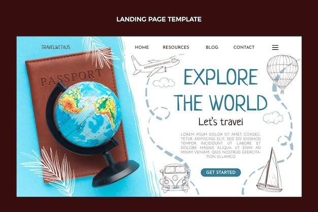Page de destination de voyage dessinée à la main