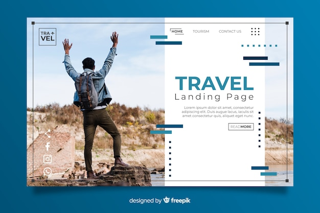 Page de destination voyage avec image