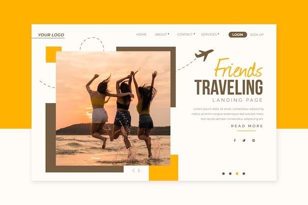 Page de destination de voyage avec image