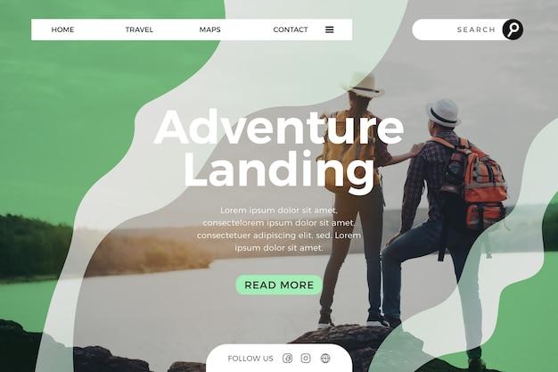 Page de destination de voyage avec photo