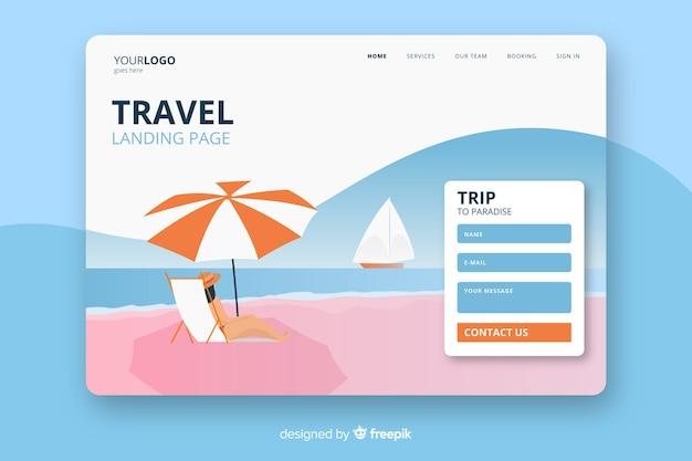 Page de destination de voyage à plat