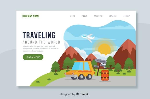 Page de destination voyager à travers le monde