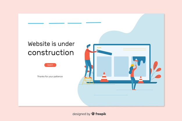 Page de destination web en construction