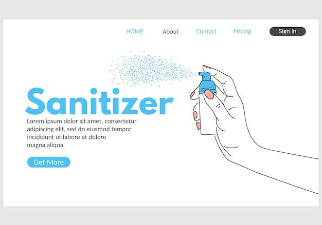 Page de destination web du désinfectant pour les mains. main humaine tenant l'illustration du distributeur de désinfectant. désinfection, hygiène et soins de santé des maladies à coronavirus. prévention médicale et sécurité épidémique.