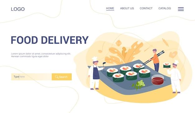 Page de destination web du menu de livraison de nourriture