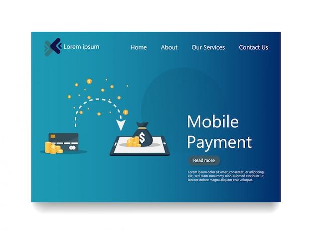 Page de destination web du service de paiement mobile en ligne