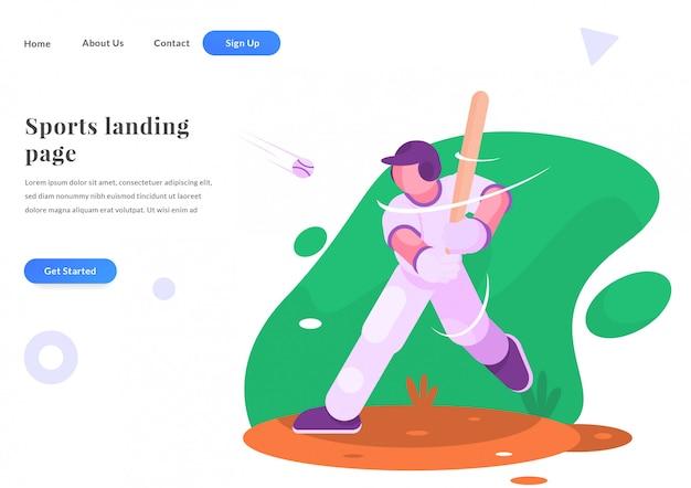 Page de destination web jouer au baseball