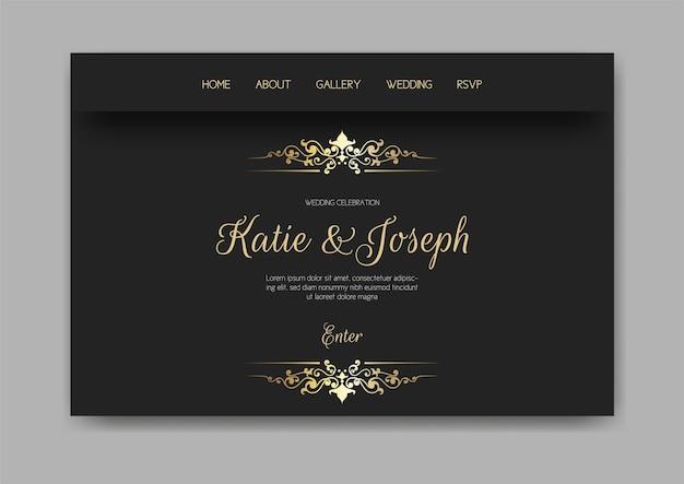 Page de destination web de mariage avec un design or et noir