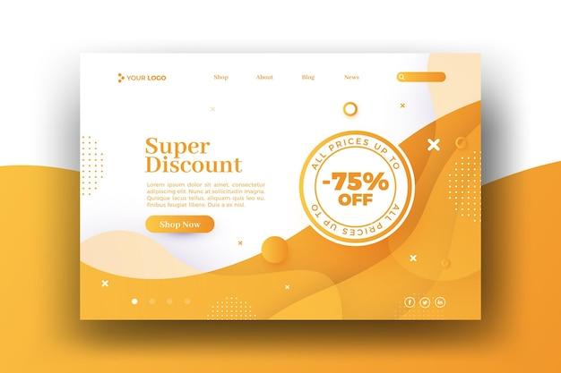 Page de destination web de vente à rabais