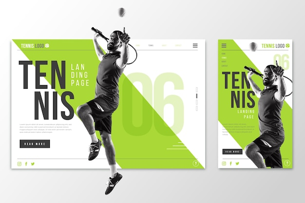 Page de destination webtemplate pour le tennis