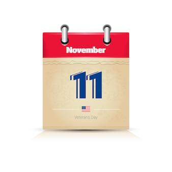Page du calendrier du 11 novembre isolée sur fond blanc, jour de la fête des anciens combattants