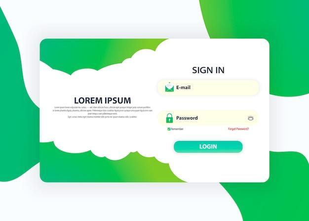 Page du formulaire de connexion. modèles de conception de pages web pour la connexion. concept de conception d'interface utilisateur. demande de connexion avec fenêtre de formulaire de mot de passe. dégradés holographiques à la mode.