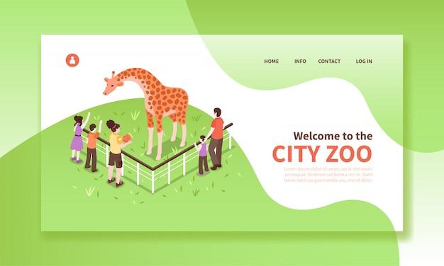 Page du site web de la bannière horizontale des travailleurs du zoo isométrique avec texte cliquable, légendes modifiables, personnages et girafe