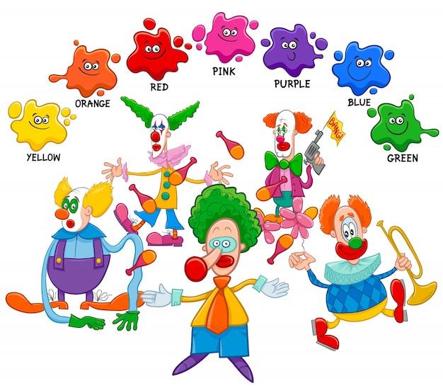 Page éducative de couleurs de base avec des clowns