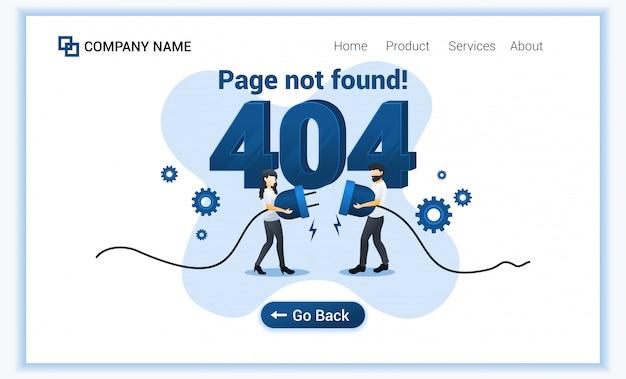 Page d'erreur 404 introuvable concept avec un homme et une femme essayant de connecter un problème de câble réseau.