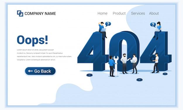 Page d'erreur 404 introuvable concept avec des personnes essayant de corriger l'erreur sur la page du site web près du grand symbole 404.