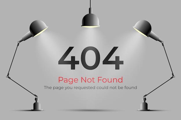 Page d'erreur 404 introuvable avec une lampe et des lumières réalistes
