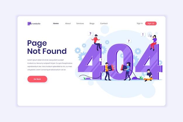 Page d'erreur 404 introuvable avec des personnes essayant de corriger une erreur sur une page web près du grand symbole 404 illustration