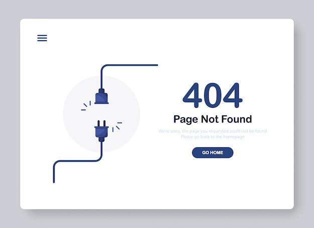 Page d'erreur introuvable bannière avec câble et prise ou fiche du cordon pour le site web. bleu