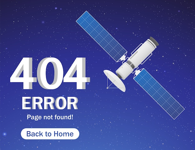 Page d'erreur avec satellite et étoiles