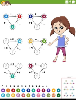 Page de feuille de calcul pédagogique de calcul mathématique