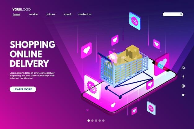 Page futuriste de magasinage en ligne de modèle futuriste