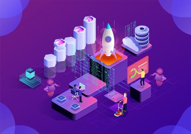 Page d'illustration de la technologie d'analyse commerciale