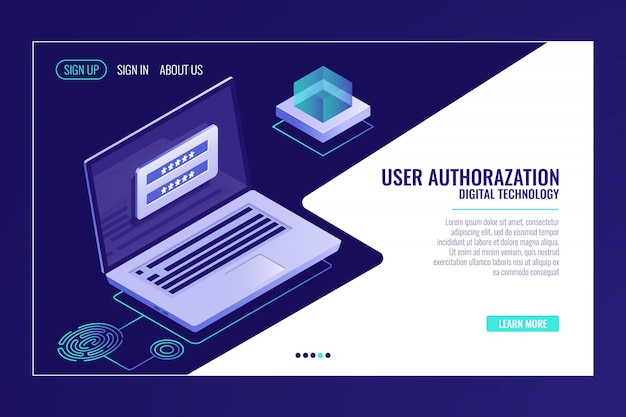 Page d'inscription ou de connexion de l'utilisateur, commentaires, ordinateur portable avec formulaire d'autorisation, modèle de page web