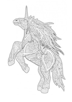 Page de livre de coloriage adulte avec licorne de dessin animé