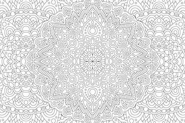 Page de livre de coloriage adulte avec motif oriental monochrome