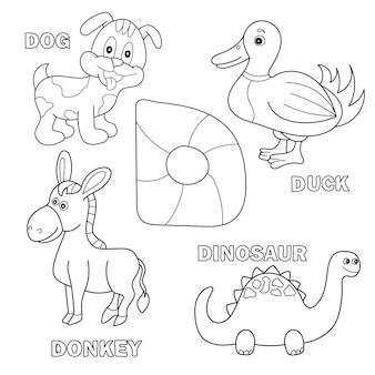 Page de livre de coloriage d'alphabet d'enfants avec des cliparts décrits. lettre d - dinosaure, chien, canard, âne