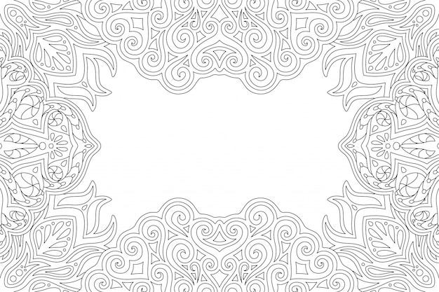 Page de livre de coloriage avec bordure rectangle vintage