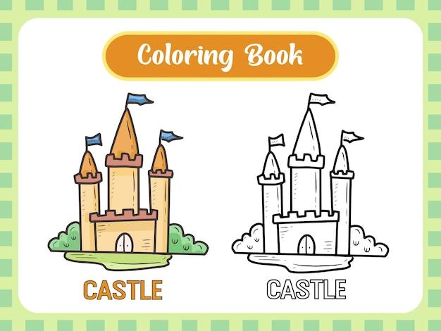 Page de livre de coloriage de château pour les enfants