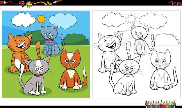 Page de livre de coloriage de groupe de chats et de chatons de dessin animé