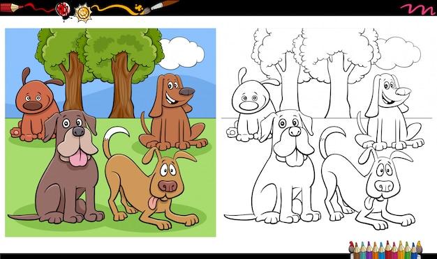 Page de livre de coloriage de groupe de chiens et chiots comiques