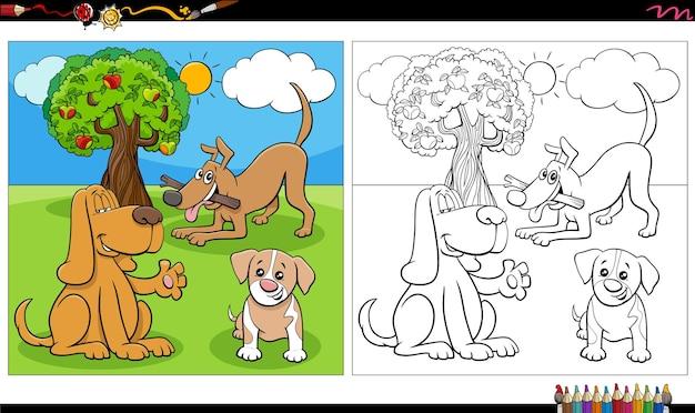 Page de livre de coloriage de groupe de chiens et de chiots de dessin animé