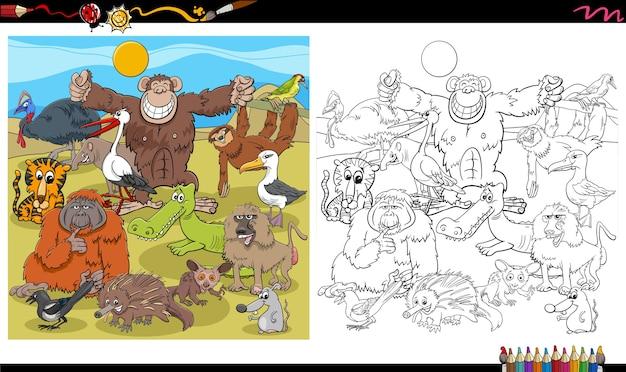 Page de livre de coloriage de groupe de personnages animaux de dessin animé
