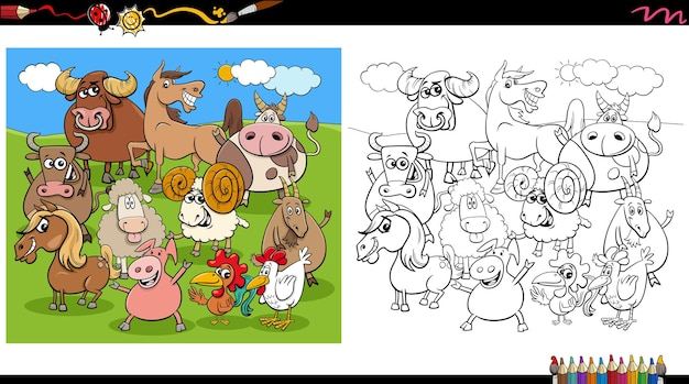Page de livre de coloriage de groupe de personnages animaux de ferme de dessin animé