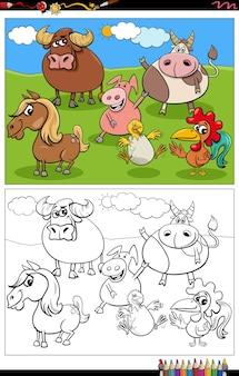 Page de livre de coloriage de groupe de personnages d'animaux de ferme