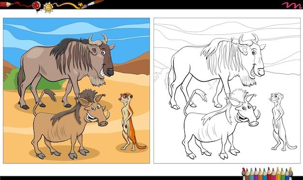 Page de livre de coloriage de groupe de personnages d'animaux sauvages de dessin animé